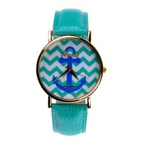 Zlyc Women's Blue Wave Line Anchor Print Quartz Wrist Watch Color Blue