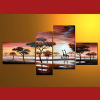 GMD4003  4-PCS Group Oil Painting