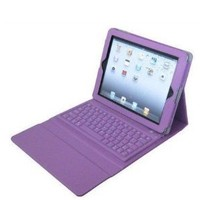 New Wireless keyboard leather case for Ipad 2/3 the new iPad with stand-PURPLE