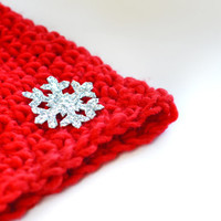Christmas Gift - Hat - Super Soft Knitted Hat in Red Yarn - Girls Women - Ladies Accessories - Hand Knitted - Cosy Soft - Silver Snowflake
