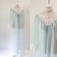 1970s baby blue robe peignor ULTRA sheer nylon chiffon & white lace full sweep // bell sleeve Miss Elaine lingerie // OSFM