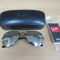 Ray-Ban RB3025 Mirrored Aviator Sunglasses in Case