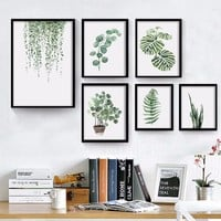 Natural Pattern Wall Art Canvas Painting Green Plants Print Wall Pictures for Living Room Bedroom Decor No Frame Poster#253221