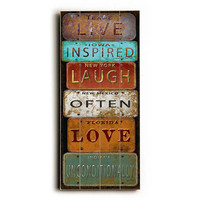 Live Inspired License Plates by Artist Jean Plout Wood Sign