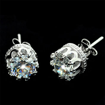 Transparent Crown Pure Silver Earring &Studs