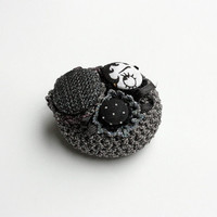 Cluster circle brooch pin, crochet with fabric buttons - black, white, gray - OOAK