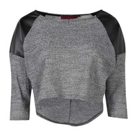 Rose Textured Fabric PU Sleeve Dip Back Top - Essentiels D'hiver - Collections