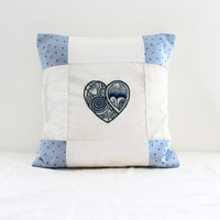 16 inch cushion cover , hand embroidery heart in blue and cream, patchwork pillow cover , cottage shabby chic decor uk seller