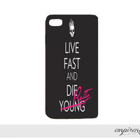 live fast DIE PRETTY iPhone case hard plastic image printed onto case trendy cute girly badass