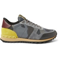 Valentino - Camouflage-Print Leather and Suede Sneakers   MR PORTER