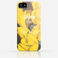 Yellow Tulips Enjoy the Little Things in Life Inspirational iPhone 4 Case, iPhone 5 Case, iPhone 5s Case, iPhone Hard Plastic Case