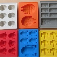 Star Wars Force Episode 1 2 3 4 5 6pc  Darth Vader,Storm Trooper,R2D2,Falcon,X-Wing,Hans Solo Silicone Mold Ice Cube Tray Chocolate Fondant Mould  Makers AT_72_6