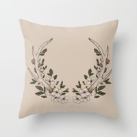 Floral Antler Throw Pillow by Jessica Roux