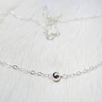 Dainty Sterling Silver Bead Necklace, Simple Sterling Silver Necklace, Tiny Necklace, Petite Necklace