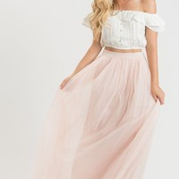 Anabelle Light Pink Tulle Maxi Skirt