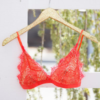 Pretty Little Thing Lace Bralette Red Orange