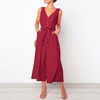 Casual Women Jumpsuits Beach Solid Red Jumpsuit Wide Leg Bow Romper