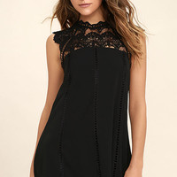 Hey Doll Black Lace Shift Dress