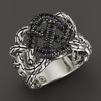 John Hardy Classic Chain Silver Lava Band Woven Braided Ring with Black Sapphire - Bloomingdale's Exclusive
