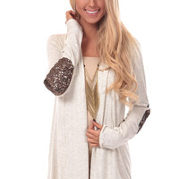 Oatmeal Sequin Patch Cardigan