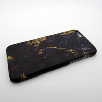 Gold Black Marble Stone iPhone 7 7 Plus & iPhone 5s se & iPhone 6 6s Plus Case Personal Tailor Cover + Gift Box