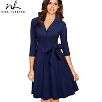 Nice-forever Vintage Solid Color Turn-Down V Collar Elegant vestidos 3/4 Sleeve A-Line Pinup Business Women Flare Dress A060