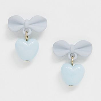 ASOS DESIGN earrings in baby blue bow and heart design | ASOS
