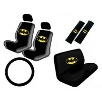 11PC Classic Batman Logo Low Back Seat Covers Bench Seat Cover Shoulder Pads Steering Wheel Cover Head Rest Covers Combo Kit