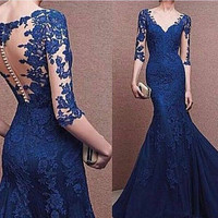 Sheath Lace Prom Dresses,Blue Prom Dress,Long Evening Dress