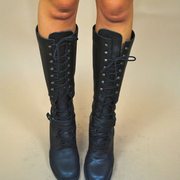 Vintage 1990s black leather grunge lace up knee high heeled combat boots