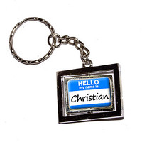 Christian Hello My Name Is Keychain