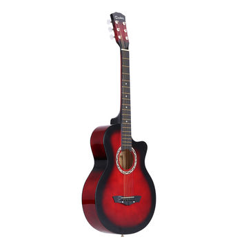 """Red 38"""" Acoustic Folk 6-String Guitar for Beginners Students Gift"""