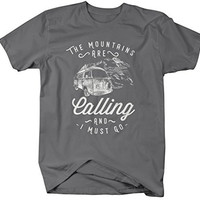 Shirts By Sarah Men's Hipster Mountains Calling T-Shirt Hiking Camping Tee