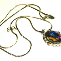 Vintage Bermuda Blue Czech Glass Necklace Upcycled on Silver Tone Chain