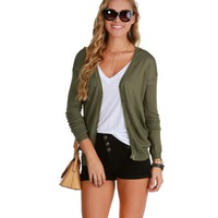 Olive Basic Cardigan With A Twist