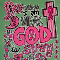 Southern Chics Funny God is Strong Pink Ribbon Breast Cancer Cross Girlie Bright T Shirt