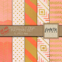 Perfectly Pink Digital Paper 5 pack