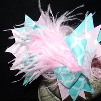 Over The Top Boutique Hairbow..Pretty In Pink and Blue Spikey Layered Boutique Bow and Headband..Great for Newborn Toddler big Girl