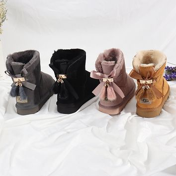 """UGG"" Women male Pendant bow Fashion Wool Snow Boots"