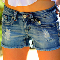 GRACE IN L.A. TOP OF THE TRIBE DENIM SHORTS