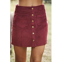 Everything Goes Button Up Skirt (Wine)
