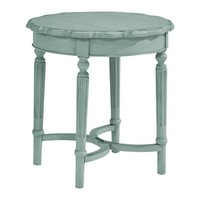 Magnolia Home French Inspired Short Pie Crust Side Table in French Blue