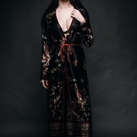China Girl Floral Long Kimono Robe