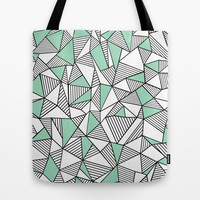 Abstraction Lines with Mint Blocks Tote Bag by Project M
