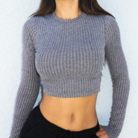 Cross Ribbed Knit Sweater Top