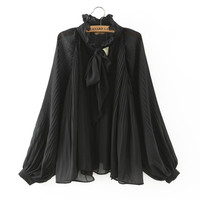 Stylish Korean Long Sleeve Ruffle Chiffon Women's Fashion Shirt [5013100356]