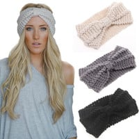 Women Knot Knit Headband Bow Crochet Turban Head Wrap Hair Accessories