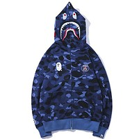 Bape Aape Autumn And Winter New Fashion Shark Tiger Camouflage Women Men Hooded Long Sleeve Sweater Coat Blue