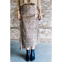 Jungle Boogie Sequin Midi Skirt, Brown Snake