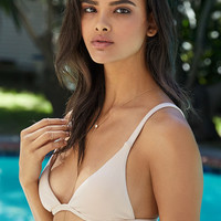 LA Hearts Ribbed V Strap Fixed Triangle Bikini Top at PacSun.com